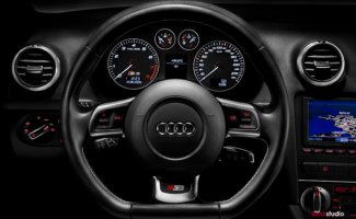 Automotive photography Audi S3 steering wheel