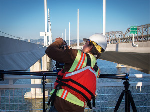 architectural photographer on San Francisco-Oakland Bay Bridge Timelapse