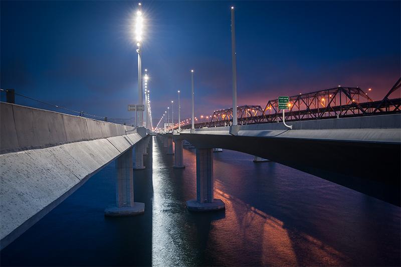 Photo of LED lights on Bay Bridge